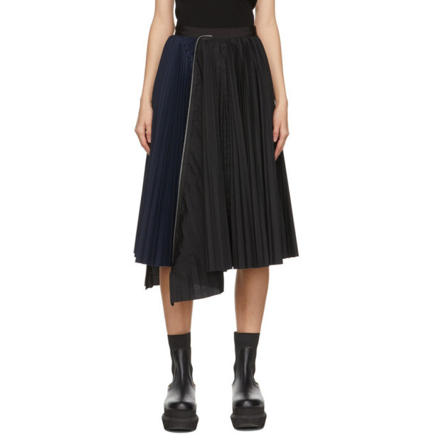 Sacai Black and Navy Zip Pleated Skirt