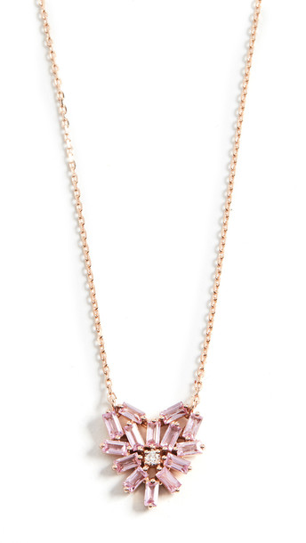 Suzanne Kalan 18k Rose Gold Fireworks Small Pink Sapphire Heart Pendant Necklace