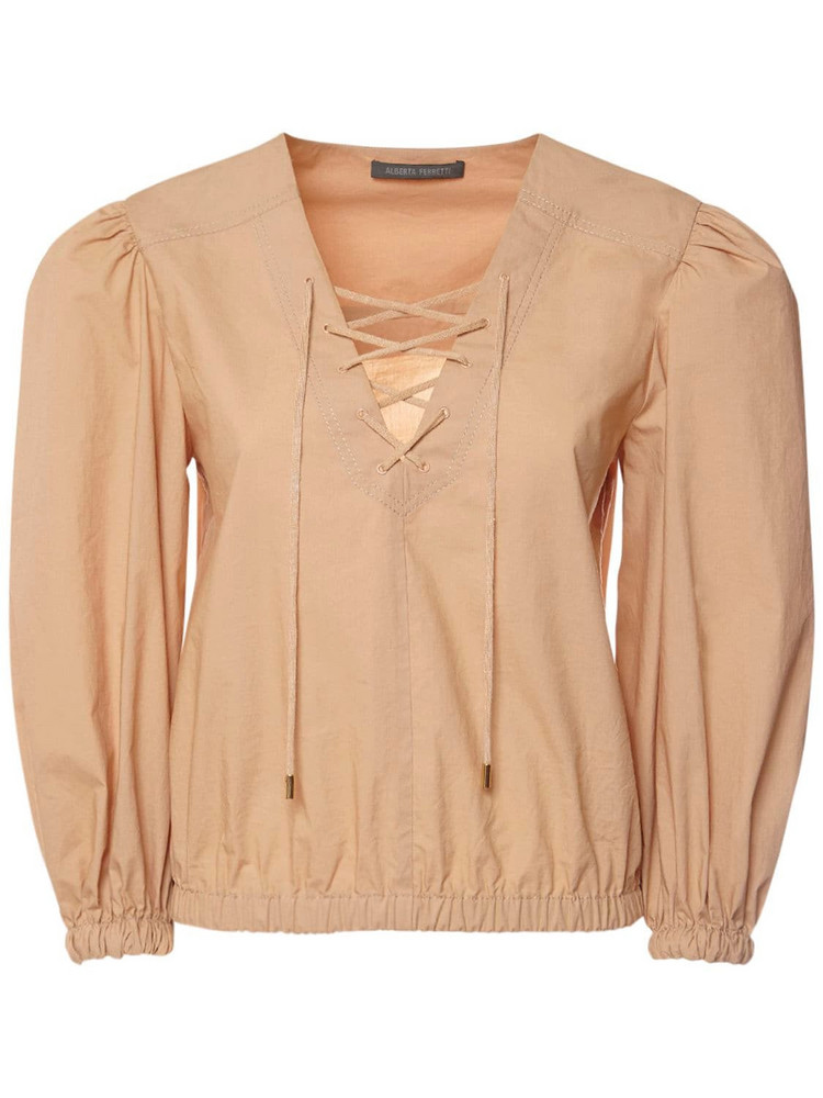 ALBERTA FERRETTI Cotton Poplin Shirt W/ Puff Sleeves in beige