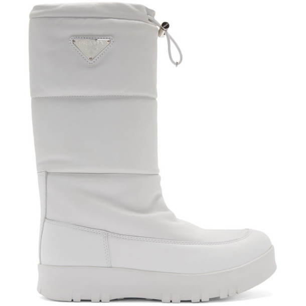 Prada White Leather Moon Boots