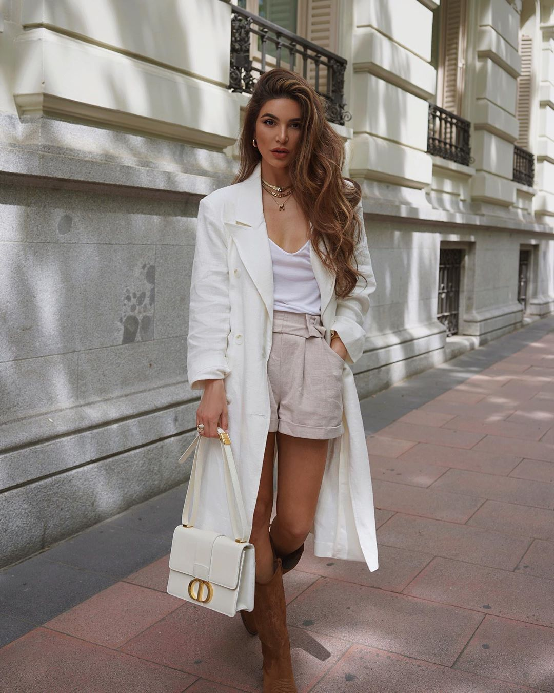 coat trench coat long coat brown boots knee high boots white bag dior bag High waisted shorts white top