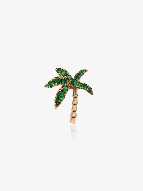 Yvonne Léon 18K yellow gold and emerald palm tree single earring