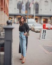 jeans,high waisted jeans,pleated,pumps,long coat,shoulder bag