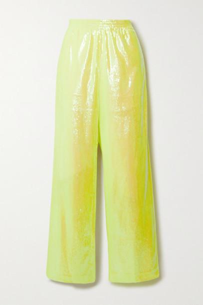 MM6 Maison Margiela - Sequined Mesh Wide-leg Pants - Chartreuse