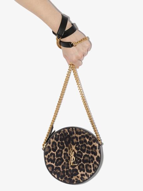Saint Laurent brown vinyle leopard circle cross body bag