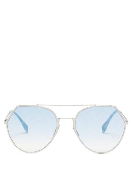 Fendi - Ff Aviator Metal Sunglasses - Womens - Blue