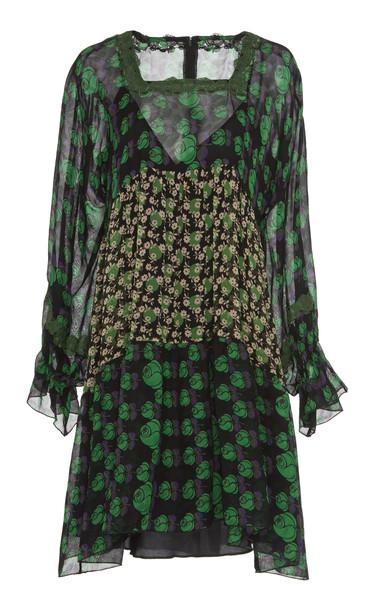 Anna Sui Mixed-Floral Chiffon Mini Dress Size: M in print