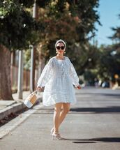 dress,mini dress,white dress,long sleeve dress,white sandals,bucket bag
