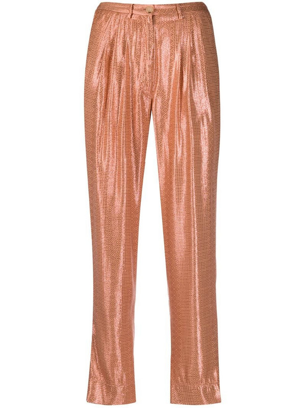 Forte Forte glossy finish trousers in brown