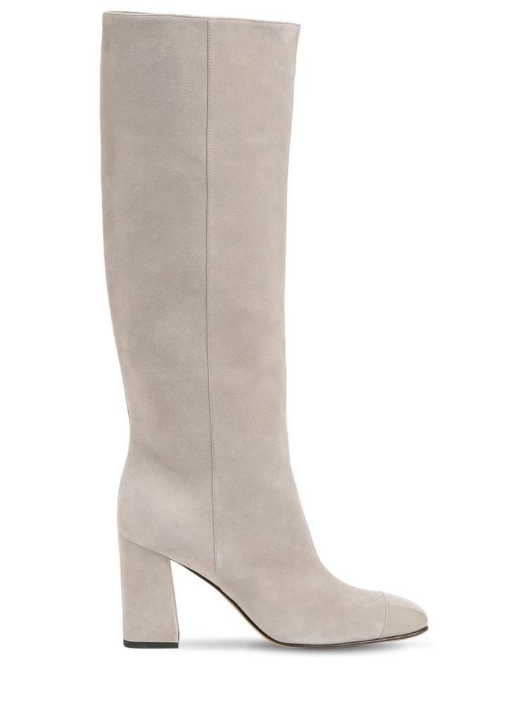 SERGIO ROSSI 90mm Sr Alicia Suede Tall Boots in grey