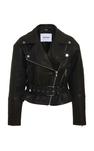 GRLFRND Denim Charlie Textured-Leather Biker Jacket Size: XS in black