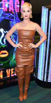 dress,strapless,leather,leather dress,brown,boots,katy perry,celebrity,faux leather