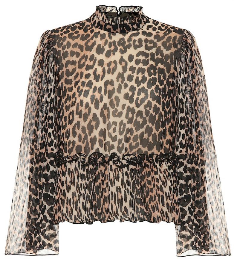Ganni Leopard-print georgette blouse in brown