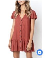 dress,burnt orange,button up dress,v neck dress