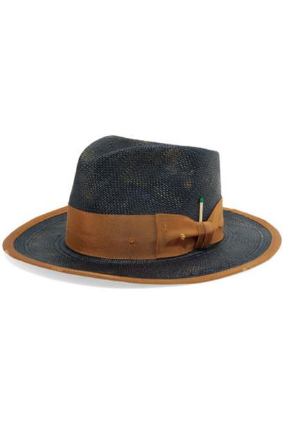 Nick Fouquet - Cigarillo Grosgrain-trimmed Straw Hat - Navy