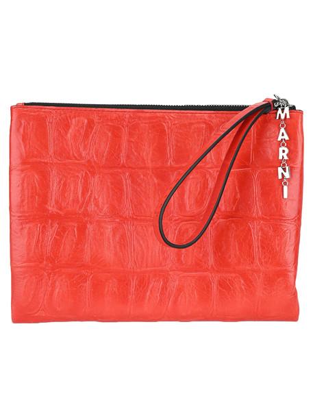 Marni Logo Charm Clutch in red