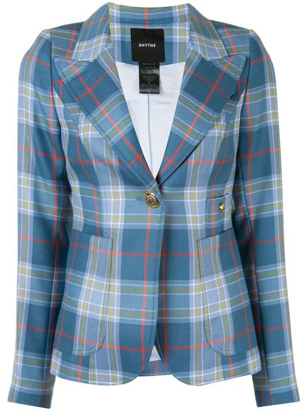 Smythe tartan-print single-breasted blazer in blue