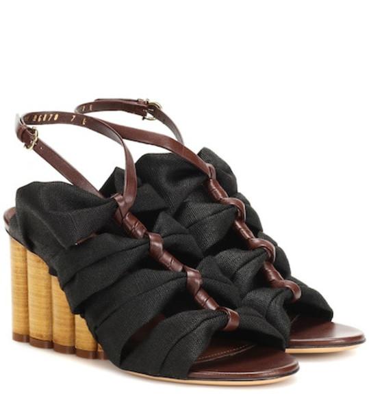 Salvatore Ferragamo Leather-trimmed sandals in black