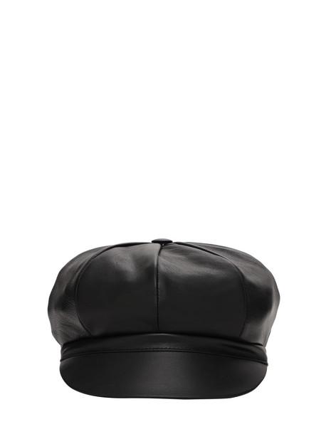 DOLCE & GABBANA Leather Hat W/ Logo Detail in black