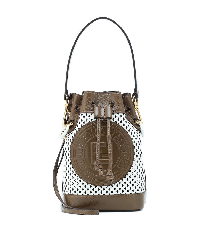 Fendi Mon Trésor Mini leather bucket bag in white