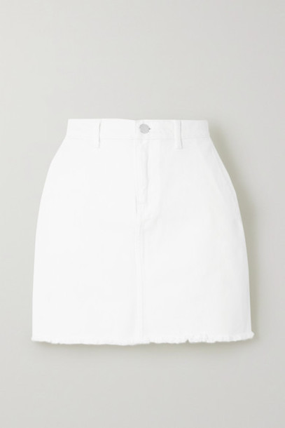 By Malene Birger - Akania Frayed Organic Denim Mini Skirt - White