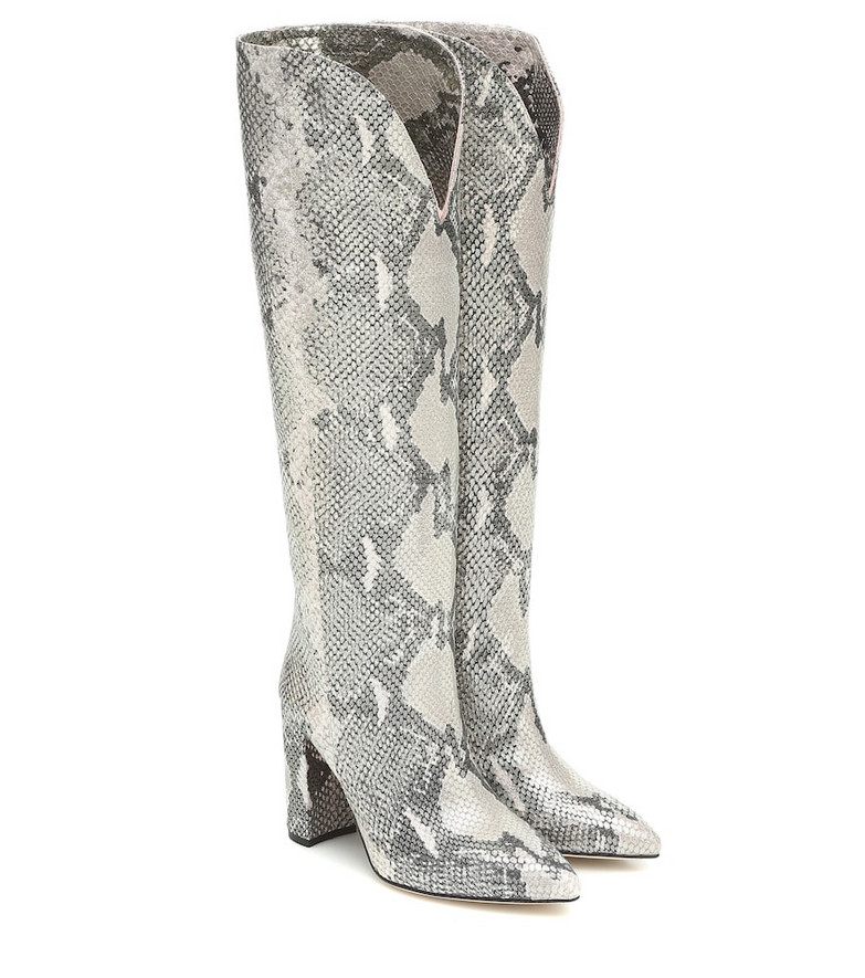 Paris Texas Snake-effect knee-high leather boots in grey