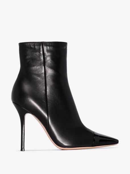 Gianvito Rossi black patent toe 105 leather boots