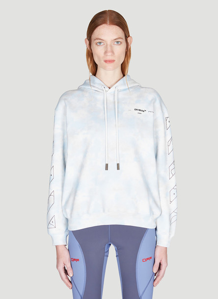 Off-White Puzzle Arrow Bleached Hooded Sweatshirt size L in blue