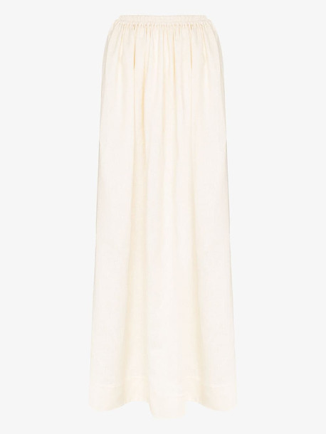 Matteau Linen elasticated maxi skirt in white