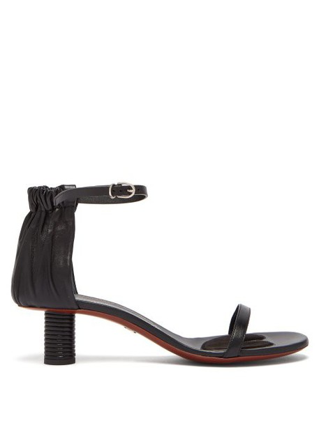 Proenza Schouler - Ruched Cylindrical Heel Leather Sandals - Womens - Black