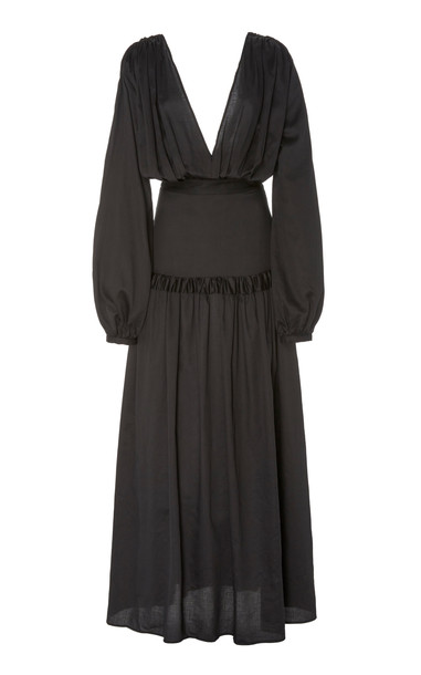 Matin Gathered Cotton-Voile Maxi Dress Size: 8 in black