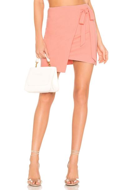 superdown Monica Wrap Tie Skirt in peach