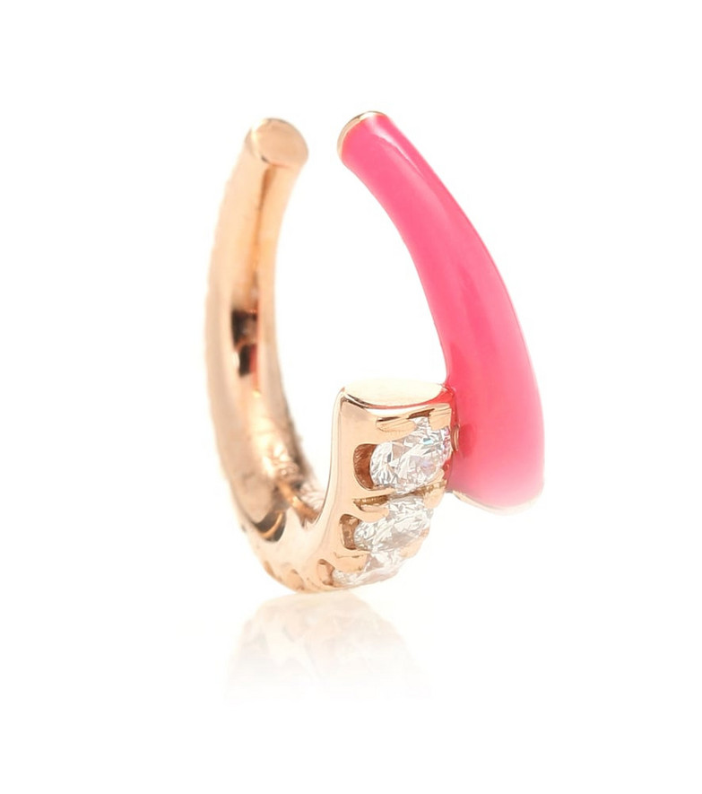Melissa Kaye Lola 18kt gold ear cuff with diamonds in pink