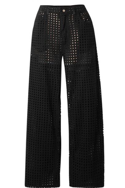 Fleur du Mal - Broderie Anglaise Cotton-voile Straight-leg Pants - Black