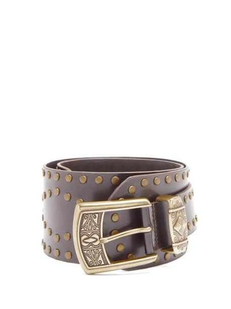 Etro - Studded Leather Waist Belt - Womens - Brown Gold