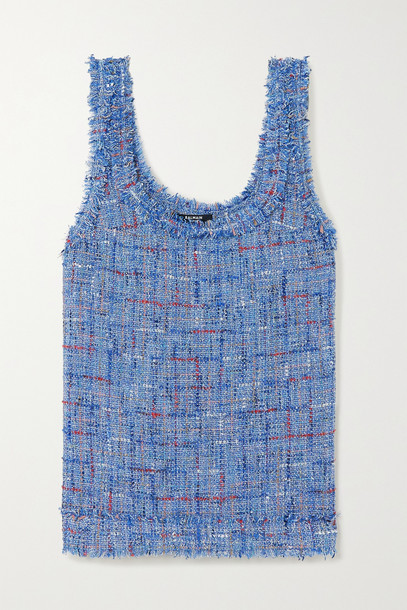 BALMAIN - Frayed Embellished Metallic Tweed Tank - Blue