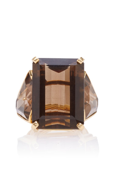 Tony Duquette One of a Kind 18K Yellow Gold and Smoky Quartz Ring Size in brown