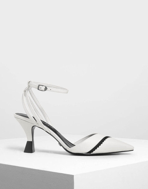 Leather Ankle Strap Pumps in white