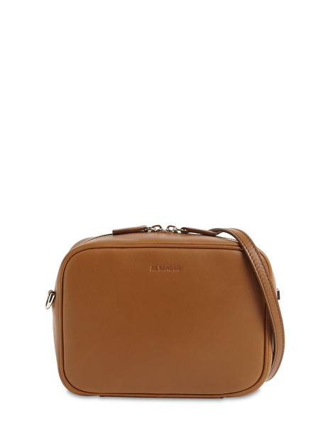 JIL SANDER J-vision Square Leather Shoulder Bag in beige
