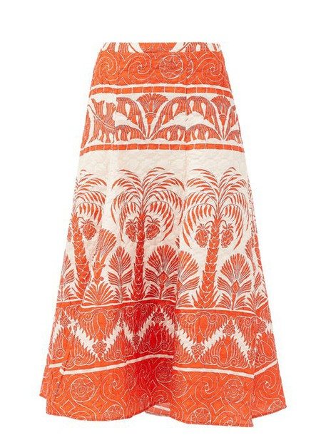 Johanna Ortiz - The Palm To Nadube Silk-blend Cloqué Midi Skirt - Womens - Orange Multi