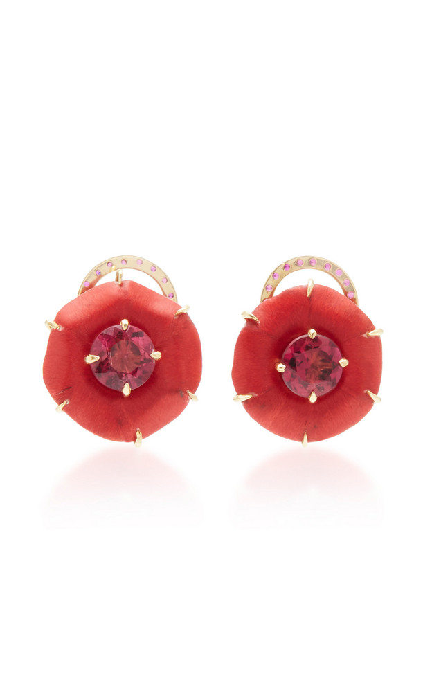 Silvia Furmanovich 18K Gold, Marquetry, Ruby and Rubellite Earrings in red