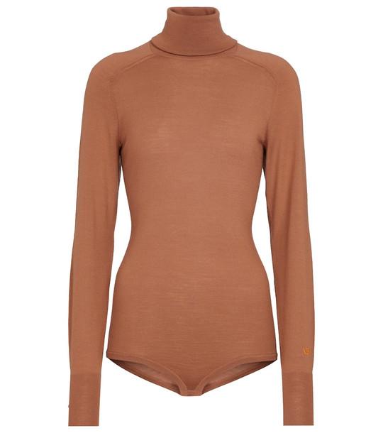 Victoria Beckham Merino wool turtleneck bodysuit in brown