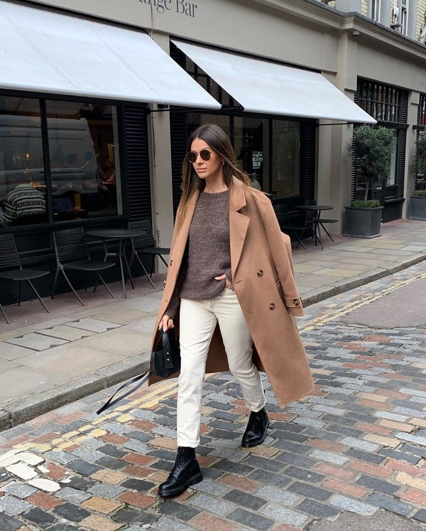 jeans white jeans black boots long coat sweater black bag