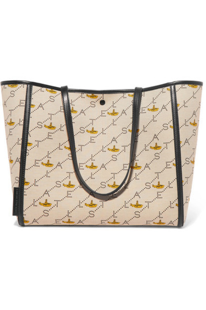 Stella McCartney - Faux Leather-trimmed Printed Canvas Tote - Ecru
