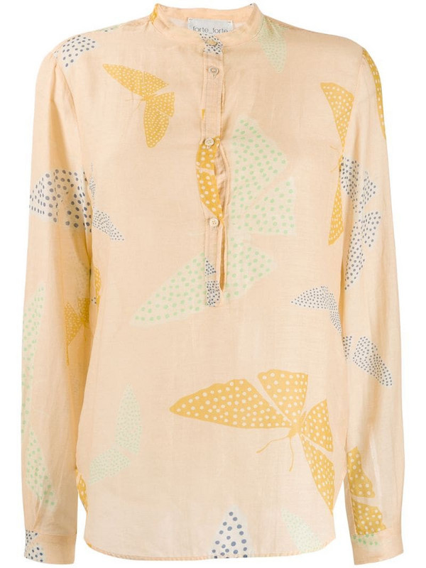 Forte Forte butterfly print shirt in neutrals