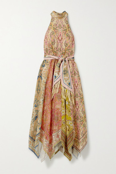 Zimmermann - Freja Paisley-print Linen Halterneck Midi Dress - Light brown
