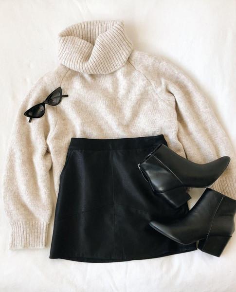 skirt sunglasses sweater shoes