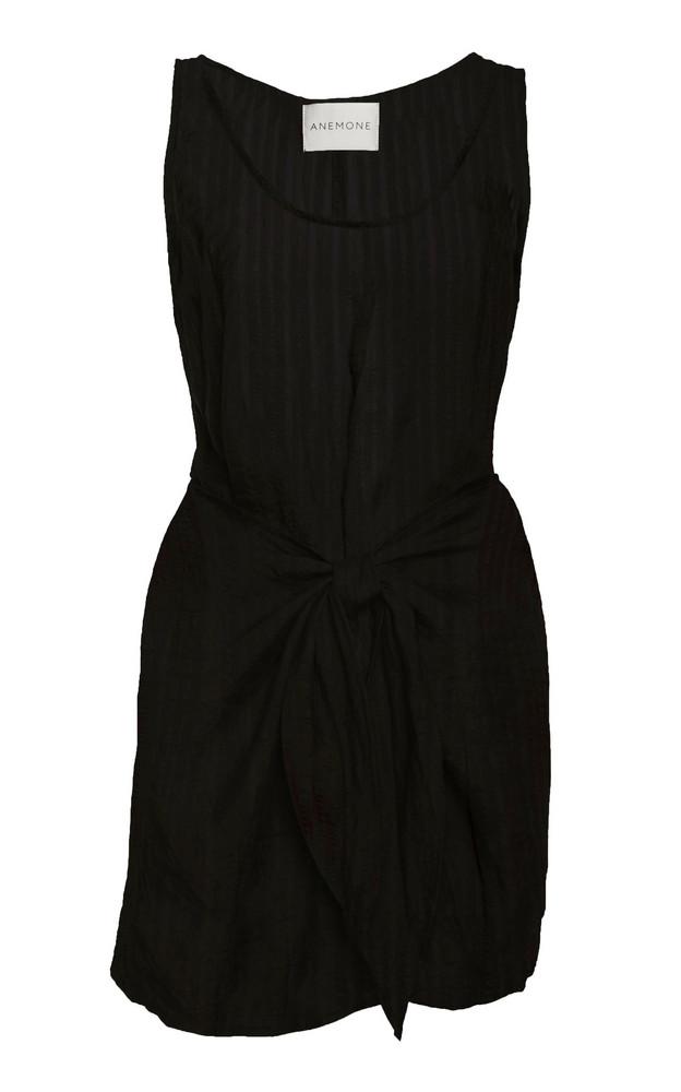 Anemone Dk Tie-Front Cotton Linen-Blend Mini Dress in black