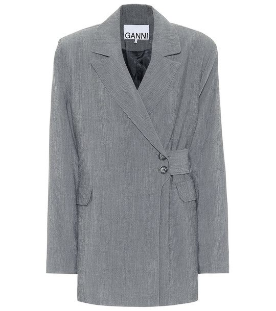 Ganni Double-breasted mélange blazer in grey