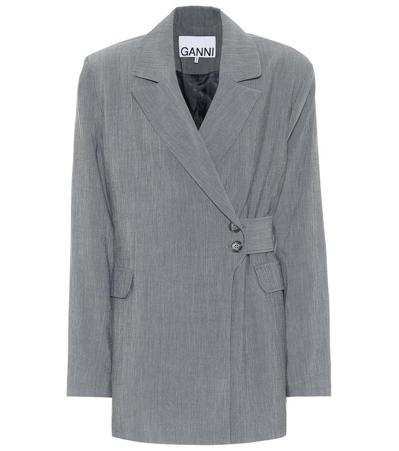 Ganni Double-breasted mélange blazer in grey